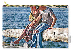 Happy Older Couple Splashing Feet In Water Art Prints Carry-all Pouch