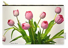 Carry-all Pouch featuring the digital art Happy Spring Pink Tulips 2 by Jeannie Rhode