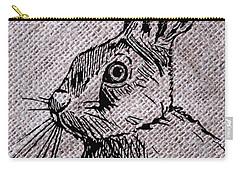 Hare On Burlap Carry-all Pouch