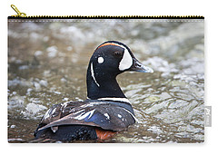 Harlequin Duck In Rapids Carry-all Pouch by Jack Bell