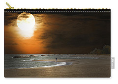 Harvest Moon On The Beach Carry-all Pouch