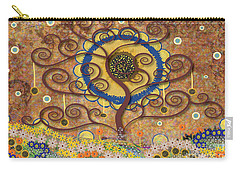 Carry-all Pouch featuring the tapestry - textile Harvest Swirl Tree by Kim Prowse