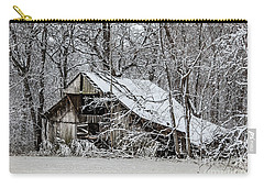 Carry-all Pouch featuring the photograph Hay Barn In Snow by Debbie Green