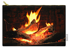 Heart-shaped Ember In Roaring Fire Carry-all Pouch by Connie Fox