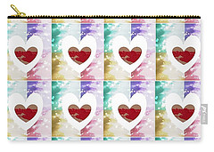 Carry-all Pouch featuring the digital art Heartful 2 by Ann Calvo