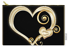 Hearts In Gold And Ivory On Black Carry-all Pouch