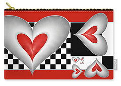 Hearts On A Chessboard Carry-all Pouch by Gabiw Art