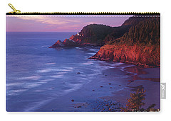 Carry-all Pouch featuring the photograph Heceta Head Lighthouse At Sunset Oregon Coast by Dave Welling