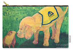 Carry-all Pouch featuring the painting Hello - Cci Puppy Series by Donald J Ryker III