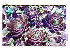 Hens And Chicks - Botanical - Indigo Blue And Purple Carry-all Pouch