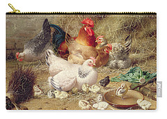 Hens Roosting With Their Chickens Carry-all Pouch by Eugene Remy Maes