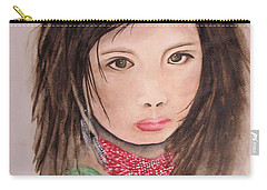 Carry-all Pouch featuring the painting Her Expression Says It All by Chrisann Ellis