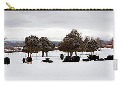 Herd Of Yaks Bos Grunniens On Snow Carry-all Pouch by Panoramic Images