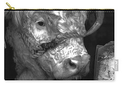 Hereford Bull In Black And White Carry-all Pouch
