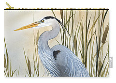 Heron And Cattails Carry-all Pouch