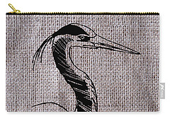 Heron On Burlap Carry-all Pouch