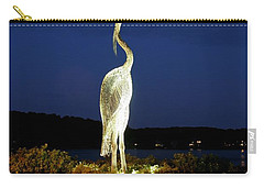 Heron On Mill Pond Carry-all Pouch by Karen Silvestri