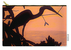 Carry-all Pouch featuring the drawing Heron Sunset by D Hackett