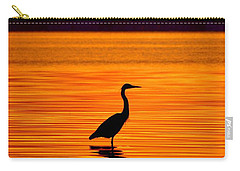 Heron With Burnt Sienna Sunset Carry-all Pouch