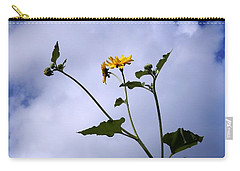 Carry-all Pouch featuring the photograph Sunflower High In The Sky by Belinda Lee