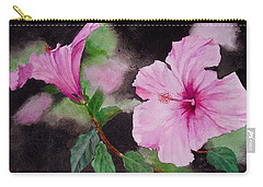 Carry-all Pouch featuring the painting Hibiscus - So Pretty In Pink by Sher Nasser