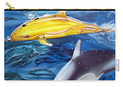 Carry-all Pouch featuring the painting High Tech Dolphins by Thomas J Herring