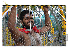 Carry-all Pouch featuring the photograph Hindu Thaipusam Festival Pierced Devotee  by Imran Ahmed