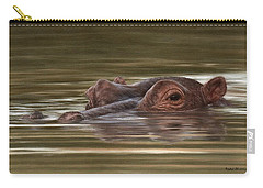 Hippo Painting Carry-all Pouch by Rachel Stribbling