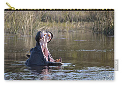 Carry-all Pouch featuring the photograph Hippo Yawning by Liz Leyden