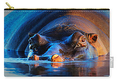 Hippopotamus  At Sunset Carry-all Pouch by Johan Swanepoel