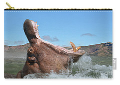 Hippopotamus Bursting Out Of The Water Carry-all Pouch