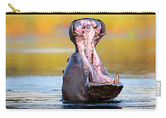 Hippopotamus Displaying Aggressive Behavior Carry-all Pouch by Johan Swanepoel