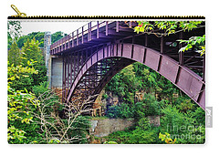 Carry-all Pouch featuring the photograph Historic Ausable Chasm Bridge by Patti Whitten