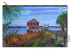 Carry-all Pouch featuring the mixed media Historic Ormond Boathouse by Deborah Boyd