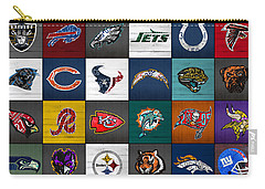 Hit The Gridiron Football League Retro Team Logos Recycled Vintage License Plate Art Carry-all Pouch by Design Turnpike