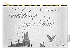 Hogwarts Quote Black And White Carry-all Pouch by Rebecca Jenkins