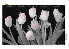 Carry-all Pouch featuring the photograph Holland Tulips In Black And White With Pink by Jeannie Rhode