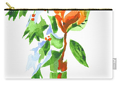 Carry-all Pouch featuring the painting Holly With Red Roses In A Vase by Kip DeVore