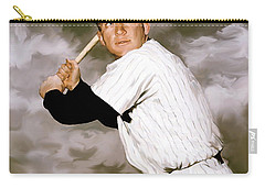 American Fabric   Mickey Mantle Carry-all Pouch by Iconic Images Art Gallery David Pucciarelli