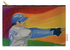 Carry-all Pouch featuring the drawing Home Run Swing Baseball Batter by First Star Art