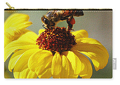 Honey Bee And Brittle Bush Flower Carry-all Pouch