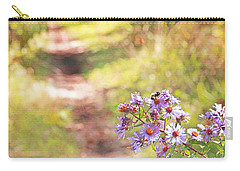 Carry-all Pouch featuring the photograph Honey Bee On Purple Aster by Brooke T Ryan