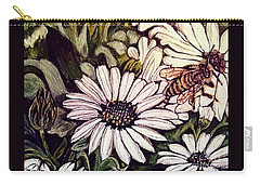Carry-all Pouch featuring the painting Honeybee Cruzing The Daisies by Kimberlee Baxter