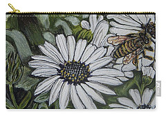 Carry-all Pouch featuring the painting Honeybee Taking The Time To Stop And Enjoy The Daisies by Kimberlee Baxter