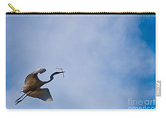 Hopeful Egret Building A Home  Carry-all Pouch by Terry Garvin