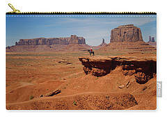Horse And Rider In Monument Valley Carry-all Pouch