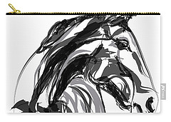 Horse- Apple -digi - Black And White Carry-all Pouch by Go Van Kampen