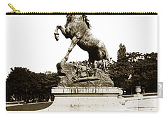 Carry-all Pouch featuring the photograph Horse Sculpture Trocadero  Paris France 1900 Historical Photos by California Views Mr Pat Hathaway Archives