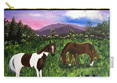 Carry-all Pouch featuring the painting Horses by Jamie Frier
