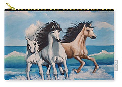 Horses On A Beach Carry-all Pouch